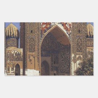 Shir Dor madrasah in Registan Square in Samarkand Rectangular Sticker
