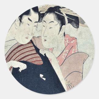 Shirai and the courtesan by Kitagawa,Utamaro Classic Round Sticker