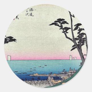 Shirasuka por Ando, Hiroshige Ukiyoe Pegatina Redonda