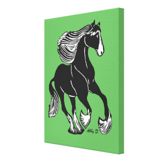 "Shire Horse Green  11"" x 14"" Wrapped Canvas Art"