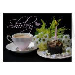 Shirley Birthday Card With Tea Cake And Flower