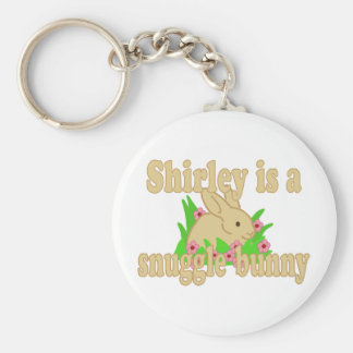 Shirley is a Snuggle Bunny Basic Round Button Keychain