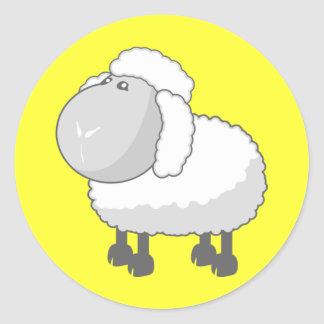 Shirley the Cute Cartoon Sheep Classic Round Sticker