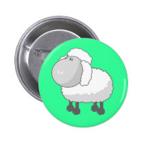 Shirley the Cute Cartoon Sheep Pinback Button