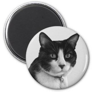 Shirley, Tuxedo Cat 2 Inch Round Magnet