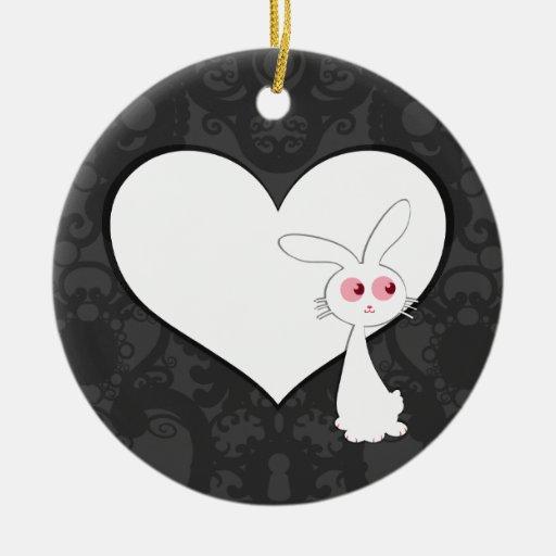 Shiro Bunny Love I Ceramic Ornament