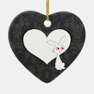 Shiro Bunny Love I Double-Sided Heart Ceramic Christmas Ornament