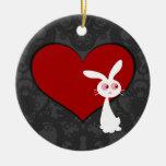 Shiro Bunny Love II Double-Sided Ceramic Round Christmas Ornament