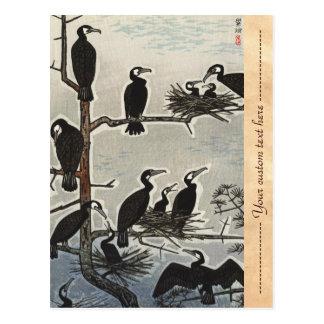 Shiro Kasamatsu Gathering of Cormorants ukiyo-e Postcard