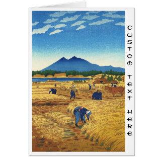 Shiro Kasamatsu Harvest Time Shin Hanga japan art Card