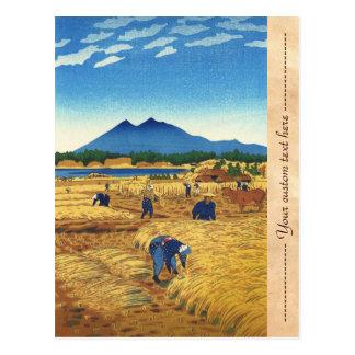 Shiro Kasamatsu Harvest Time Shin Hanga japan art Postcard