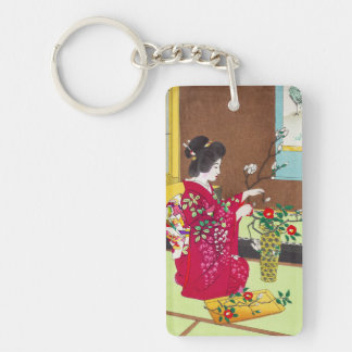 Shiro Kasamatsu Ikebana japan flowers lady scene Acrylic Key Chain