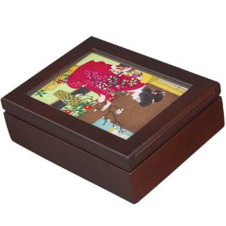 Shiro Kasamatsu Ikebana japan flowers lady scene Keepsake Box