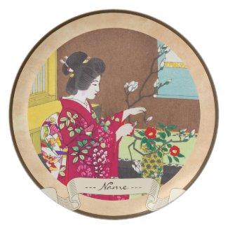 Shiro Kasamatsu Ikebana japan flowers lady scene Plates