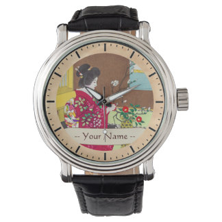 Shiro Kasamatsu Ikebana japan flowers lady scene Wristwatch
