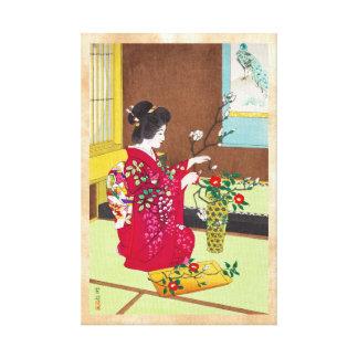Shiro Kasamatsu Ikebana Japón florece escena de la Impresión De Lienzo