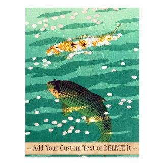 Shiro Kasamatsu Karp Koi fish pond japanese art Postcard