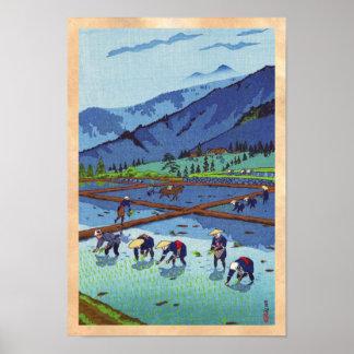 Shiro Kasamatsu Rice Planting shin hanga scenery Poster