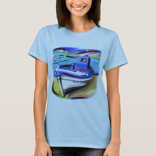 SHIRT LADIES BABY DOLL BLUE BOATING SCENE