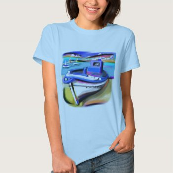 Shirt Ladies Baby Doll Blue Boating Scene by CREATIVEforKIDS at Zazzle