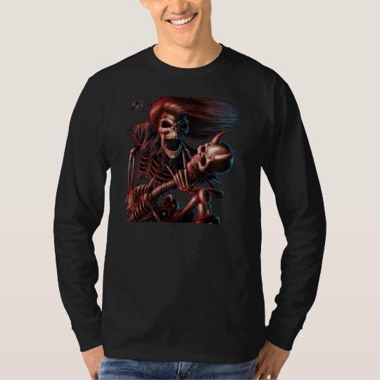 Shirt of long mango Skull Guitarist
