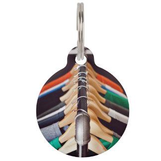 Shirt rack with wooden hangers pet nametag