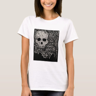 Shirt with Skull and Flower Etching