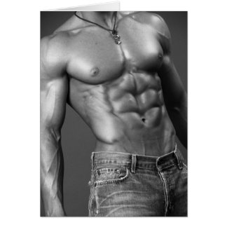 Shirtless Male In Jeans Notecard