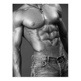Shirtless Male In Jeans Postcard
