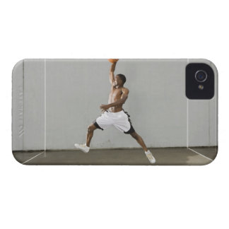 shirtless man jumping with a basketball iPhone 4 Case-Mate cases