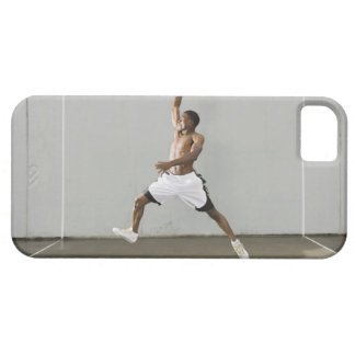 shirtless man jumping with a basketball iPhone SE/5/5s case