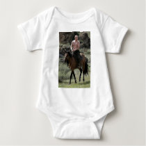 Shirtless Putin Rides a Horse Baby Bodysuit