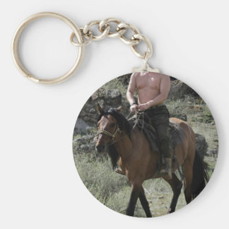 Shirtless Putin Rides a Horse Keychain
