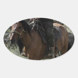 Shirtless Putin Rides a Horse Oval Sticker