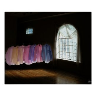Shirts in a Room of Darkness and Light Poster