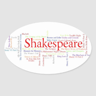 Shirts, Mugs, etc. Inspired by Shakespeare's Plays Oval Sticker
