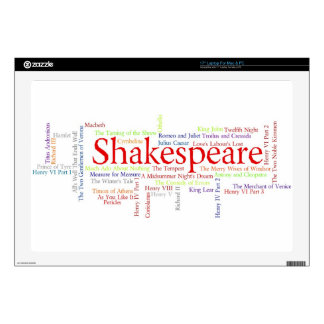 """Shirts, Mugs, etc. Inspired by Shakespeare's Plays Decals For 17"""" Laptops"""