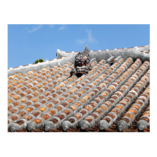 Shisa guards the roof postcard