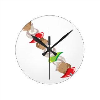 Shish Kabob vector Illustration clip-art Round Clock