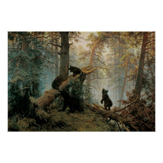 Shishkin, Ivan - mañana en un bosque del pino Póster