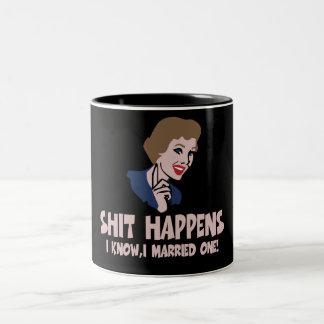 Shit happens Two-Tone coffee mug