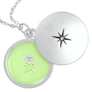 shit weather round locket necklace