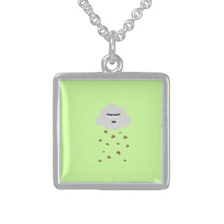 shit weather square pendant necklace