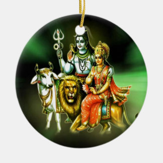 SHIVA AND PARVATHI CERAMIC ORNAMENT