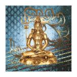Shiva - azul envuelto de la lona, oro, damasco lienzo envuelto para galerias