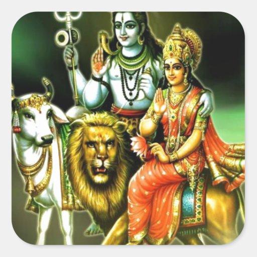 Shiva Calcomania Cuadrada Personalizada