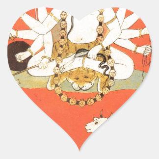 Shiva con su toro sagrado Nandi Pegatina En Forma De Corazón