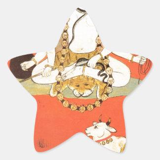 Shiva con su toro sagrado Nandi Pegatina En Forma De Estrella