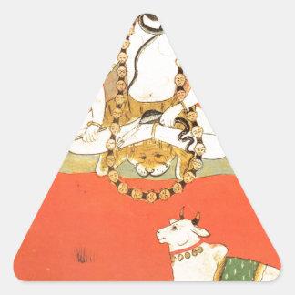 Shiva con su toro sagrado Nandi Pegatina Triangular