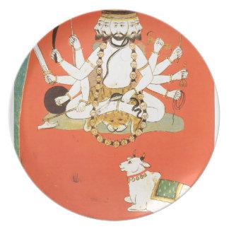 Shiva con su toro sagrado Nandi Plato